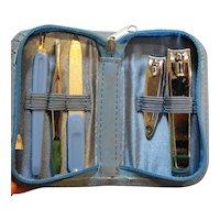 Blue Manicure Set 5 Pieces Zippered Case