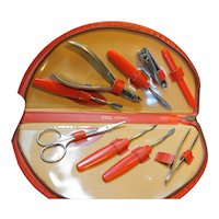 Red Ground Leather Case Manicure Set Austria Germany