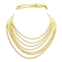 Art Deco Brass Ball Beads Multistrand Necklace Bracelet Set