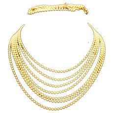Art Deco Brass Ball Beads Multistrand Necklace Bracelet Set
