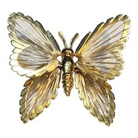 Monet Butterfly Wire Gold Tone Pin