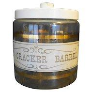 Pyrex Cracker Barrel Glass White Lid Gold Wood Decoration