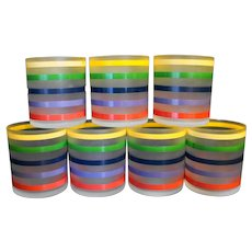Rainbow Stripe Frosted Glass Tumblers Set of 7