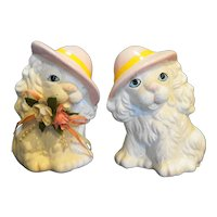 Ceramic Pottery Dog Figurines Pair White Long Hair Pink Hat