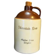 Mountain Dew Skyline Drive Virginia Brown Glazed Jug