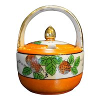 Hand Painted Japan Orange Lustre Marmalade Jam Pot Condiment Jar