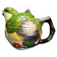 Meridian Ceramics Green Finch Tea Pot Hand Painted