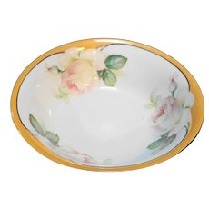 Germany Porcelain Roses Peach Lustre Serving Bowl