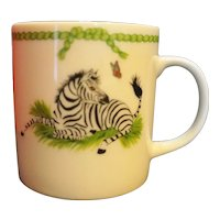 Lynn Chase Jungle Party Child's Mug NIB Zebra Elephant 1988