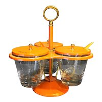 Orange Metal Glass Condiment Server Caddy Midcentury Modern