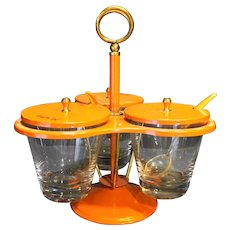 Orange Metal Glass Condiment Server Caddy Midcentury Modern