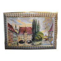 Cookie Tin European Scenery Embossed Basketweave