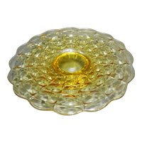 Tiara Yellow Constellation Footed Cake Plate 13 IN