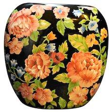 Otagiri Floral Garden Black Pink Chintz Pocket Vase