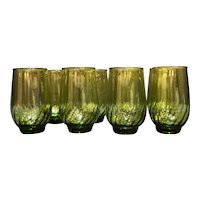 Anchor Hocking Regal Avocado Green 11 Oz Flat Tumblers Set of 8