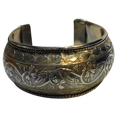 Engraved Flowers Silver Tone Cuff Bracelet India