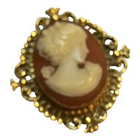 Avon Cameo Pin Solid Perfume Gold Filigree