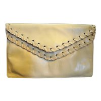David Mehler for Dame Beige Leather Envelope Clutch