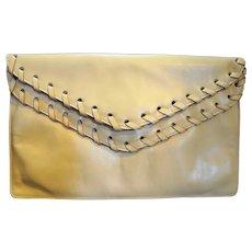 David Mehler for Dame Beige Leather Envelope Clutch