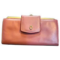 Buxton Top Grain Cowhide Mauve Pink Long Wallet French Clutch