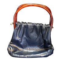 Navy Blue Leather Purse Rootbeer Lucite Marbled Handles