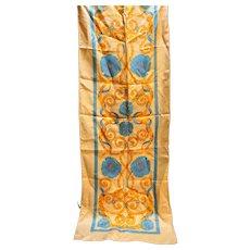Pale Orange Gold Blue Floral Oblong Acetate Twill Scarf