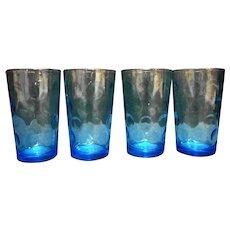 Hazel Atlas Capri Azure Turquoise Blue Eldorado Dots Juice Tumblers Set of 4