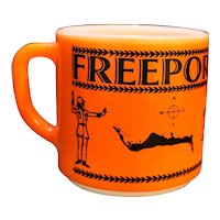 Freeport Bahamas Souvenir Federal Milk Glass Mug