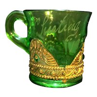 US Glass Colorado EAPG Emerald Green Gold Souvenir Mug Chisting 1924