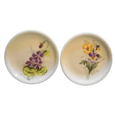 Westmoreland Beaded Edge Milk Glass Hand Painted Violet Pansy Flowers Salad Plates