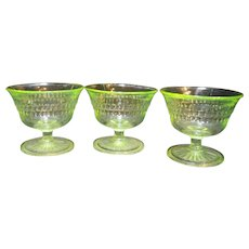 Anchor Hocking Roulette Many Windows Green Depression Glass Sherbets