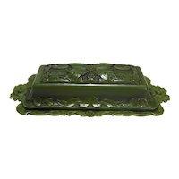 Brillium Metals Green Plastic Floral Butter Dish