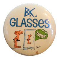 B.C. Comic Glasses Pin Button 1982 Arbys