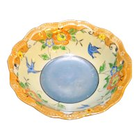 Japan Hand Painted Lustre Bowl Peach Blue Flowers Birds