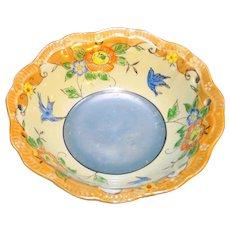 Japan Hand Painted Lustre Bowl Peach Blue Flowers Birds