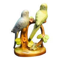 Green Blue Parakeets Budgies Finches Porcelain Figurine