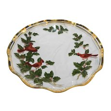Bent Glass Cardinals Red Birds Holly Christmas Plate Gold Trim