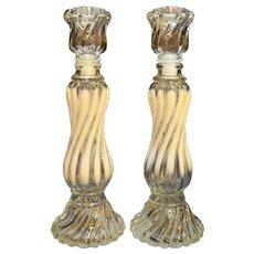 Fenton Opalescent Swirl Spiral Twist Candle Holders  Avon Bottles