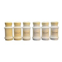 Milk Glass Spice Jars Rope Scroll Edge Set of 6