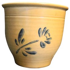 Pfaltzgraff Folk Art FTD Flower Pot 1984 Tan Blue
