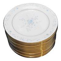 Noritake Carolyn 2693 Salad Plates 8 3/8 In Set of 12 Blue Flowers Fine China Porcelain