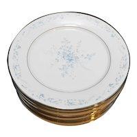 Noritake Carolyn 2693 Dinner Plates Set of 11 Blue Flowers Fine China Porcelain