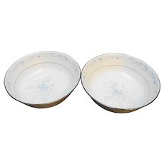 Noritake Carolyn 2693 Round Vegetable Bowls Pair Blue Flowers Fine China Porcelain