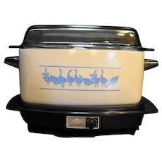 West Bend Slow Cooker Crock Pot 4 Qt Griddle Blue Geese
