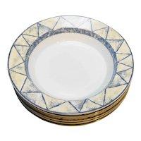 Dansk Travatine Blue Rimmed Soup Bowls Set of 6