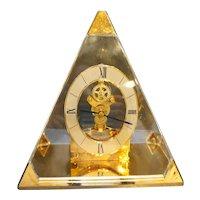 Howard Miller Pyramid Skeleton Clock 621-262 Made in Taiwan Brass Lucite