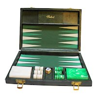 Crisloid Green White Marbled Bakelite Catalin Backgammon Set Nearly Complete
