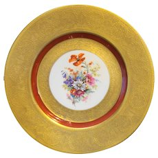 Hutschenreuther Selb Bavaria Gold Encrusted Rust Orange Red Floral Cabinet Dinner Plate