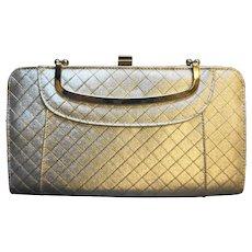 Gold Lame Quilted Diamonds Handbag Evening Bag Purse Elegant