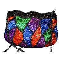 La Regale Black Beaded Jewel Tone Sequins Evening Bag Purse